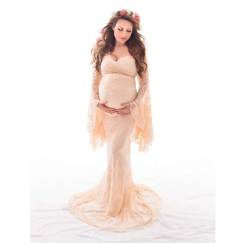Sexy Lace Maternity Shoot Dress Flare Sleeve Fancy Pregnancy Dresses For Photography Long Pregnant Women Maxi Gown Photo Props s m l xl maternity dress for photo shoot maxi maternity gown split front maternity chiffon gown sexy maternity photography props