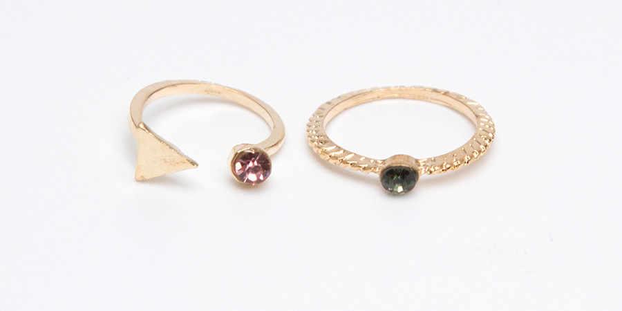 แฟชั่นผู้หญิงแหวน 5 ชิ้น/เซ็ตเครื่องประดับเงิน VINTAGE VINTAGE Bohemian VINTAGE แหวน Knuckle Blue Rings แหวน кольца #5