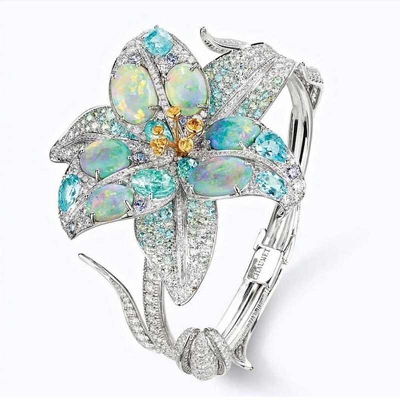 Gorgeous Cubic Zirconia แหวนหินสีม่วงและลึกสีเขียวดอกไม้คริสตัลแหวนสำหรับเครื่องประดับ Party Party
