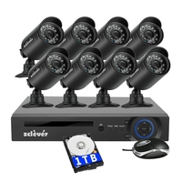 Zclever 8CH CCTV Camera System 1200TVL Home Security Video Surveillance Kit 720P AHD DVR with 8PCS Camera Night Vision