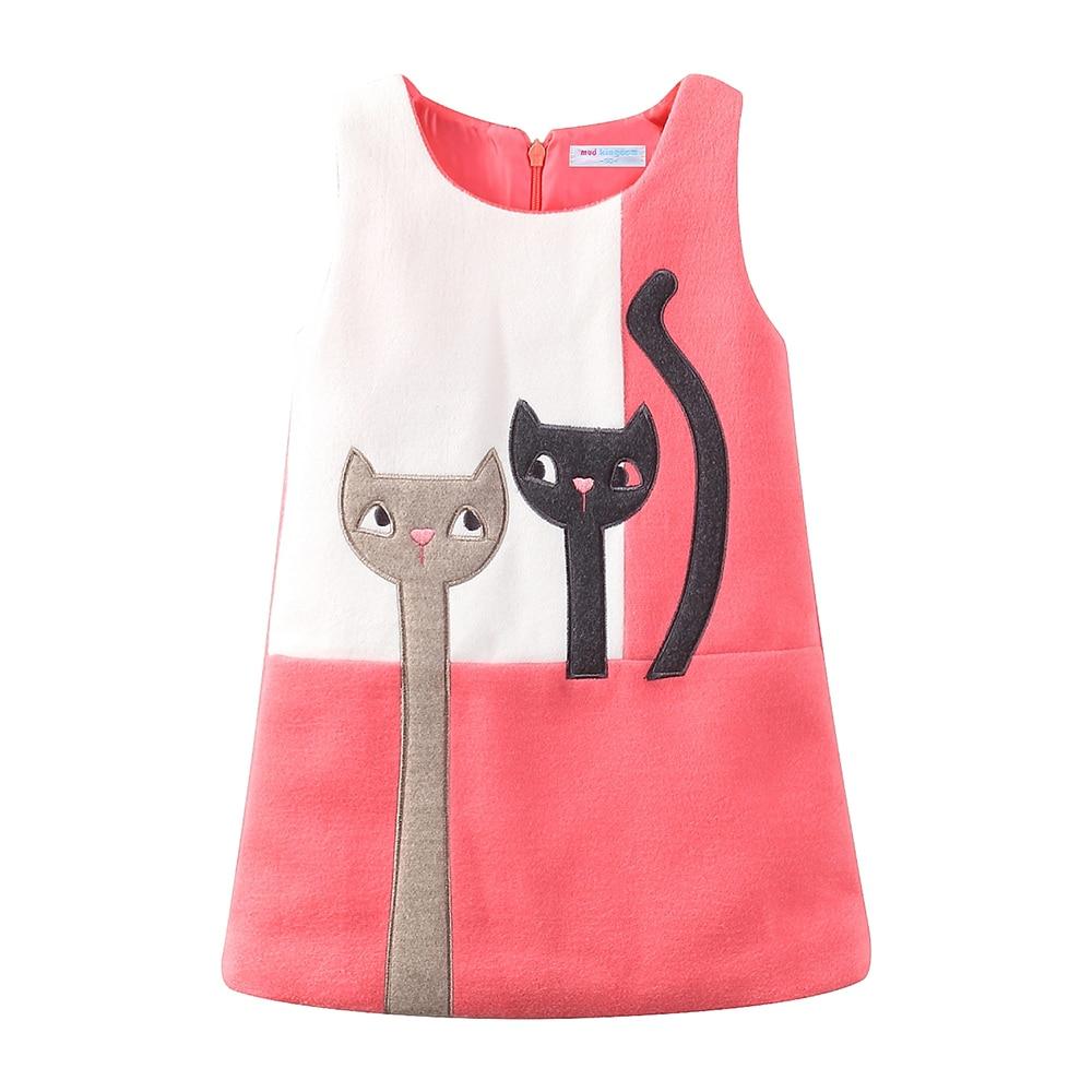 Mudkingdom Little Girls Dresses Sleeveless Wool Cute Cats Bunny Cartoon Winter A-Lined Kids Dress Girls Clothes 3