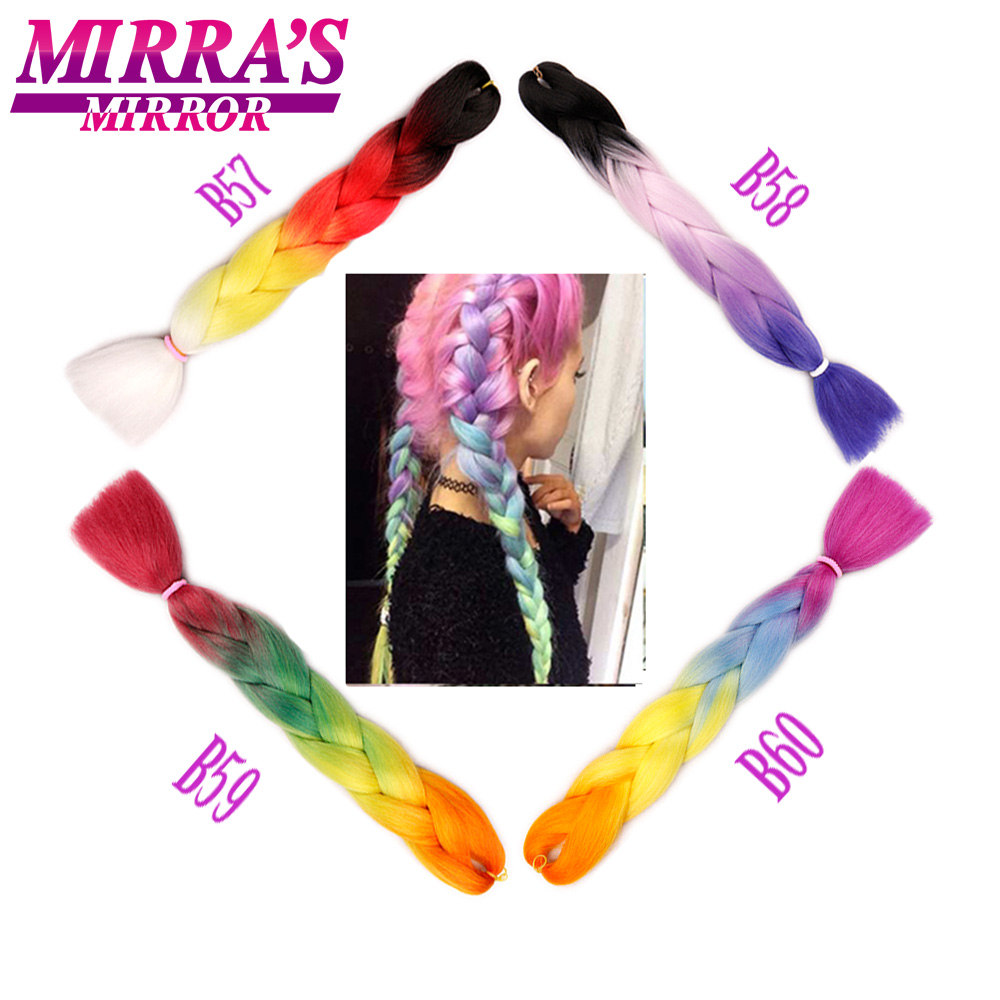 Mirra's Mirror 5pack Ombre Braiding Hair Synthetic Crochet Hair  24