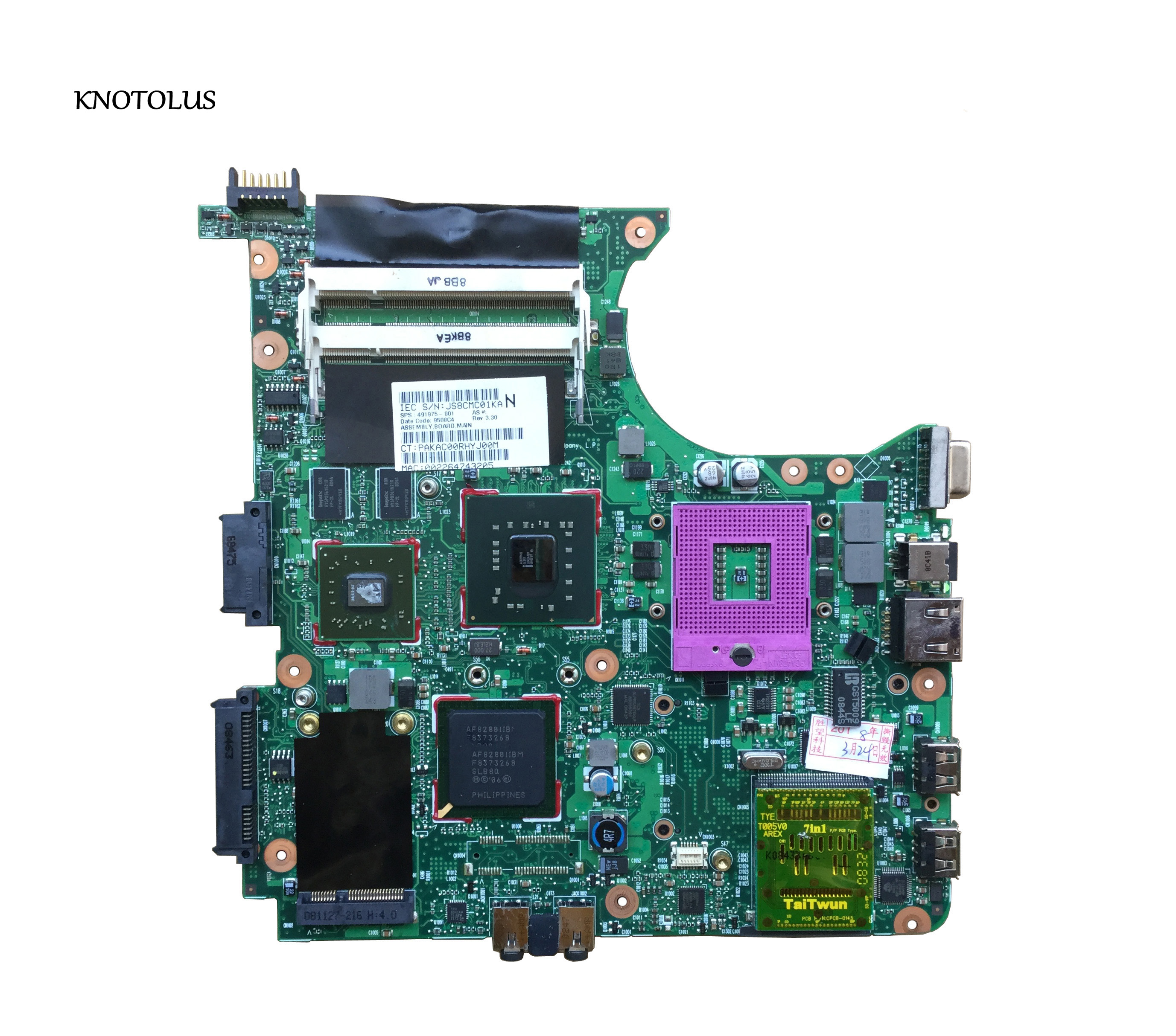Free Shipping 491976-001 For Hp Compaq 6531S 6730S Laptop Motherboard PM45 DDR2 100% Tested OK
