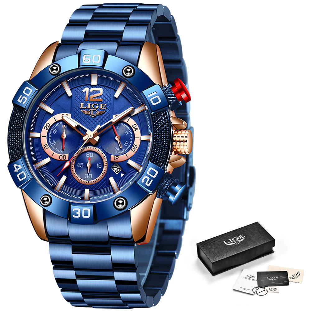 Closeout DealsLIGE Mens Watches Clock Chronograph Blue Sports Waterproof Top-Brand New-Fashion Luxury