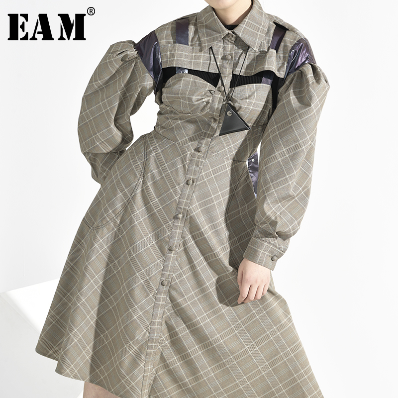 [EAM] Women Plaid Hollow Out Split Backless Dress New Lapel Long Puff Sleeve Loose Fit Fashion Tide Spring Autumn 2020 1B7431