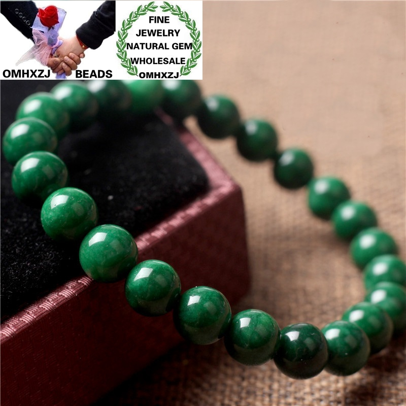 OMHXZJ Wholesale ZB395 68101214mm European Fashion Birthday Party Wedding Gift Natural Stone Fine Jadeite Round Beads Bracelets