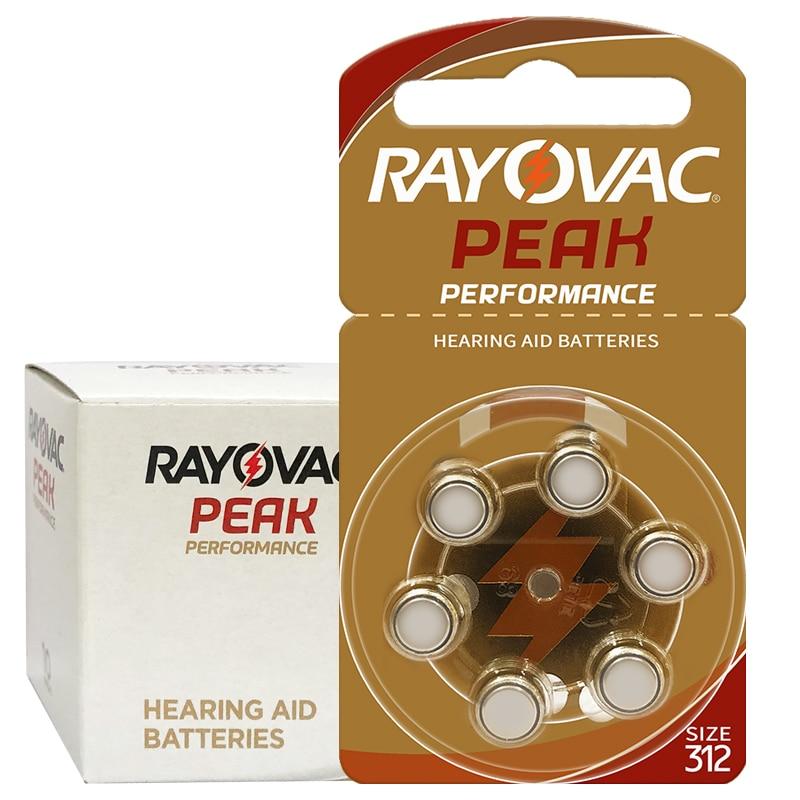 60 PCS Rayovac PEAK High Performance Hearing Aid Batteries. Zinc Air A312 312A ZA312 312 PR41 U Battery For BTE Hearing Aids