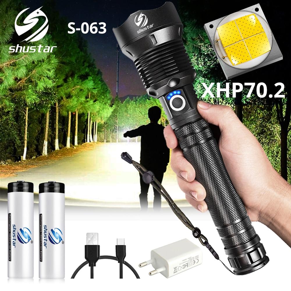 Poderosa Lanterna LED Com 3 XHP 70.2 talão Lâmpada Zoomable modos de iluminação Lanterna LED Suporte para Mircro cobrando lâmpada de caça