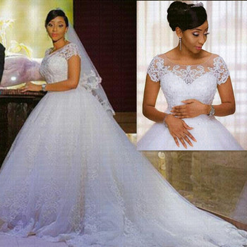 Vintage Lace Appliques African Wedding Dress 2021 Short Sleeves Cheap Vestido De Noiva Robe Mariee Bride Dresses - discount item  21% OFF Wedding Dresses