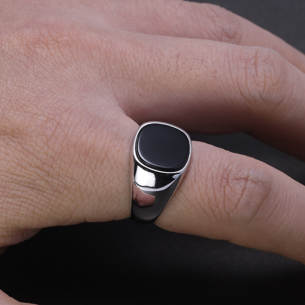 Image 5 - Real Pure Silver s925 Mens Rings Minimalist Turkish Rings Man Simple Finger Rings With Natural Onyx Stones Turkish JewelleryRings   -