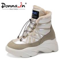 Donna-in oryginalny Design ciepłe buty śniegowe futrzane wysoka podeszwa oryginalne zamszowe damskie buty zimowe wodoodporne zasznurowane obuwie nowe