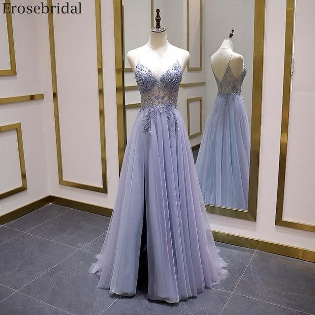 Erosebridal Sexy Illusion Long Prom Dress 2020 Luxury Beads A Line Long Formal Women Evening Gown Party Dress Front Split V Neck