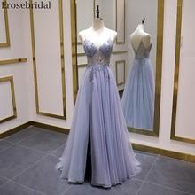 Erosebridal Sexy Illusion długa suknia balowa 2020 luksusowe koraliki linia długa formalna kobiety suknia wieczorowa Party Dress przód podziel V Neck