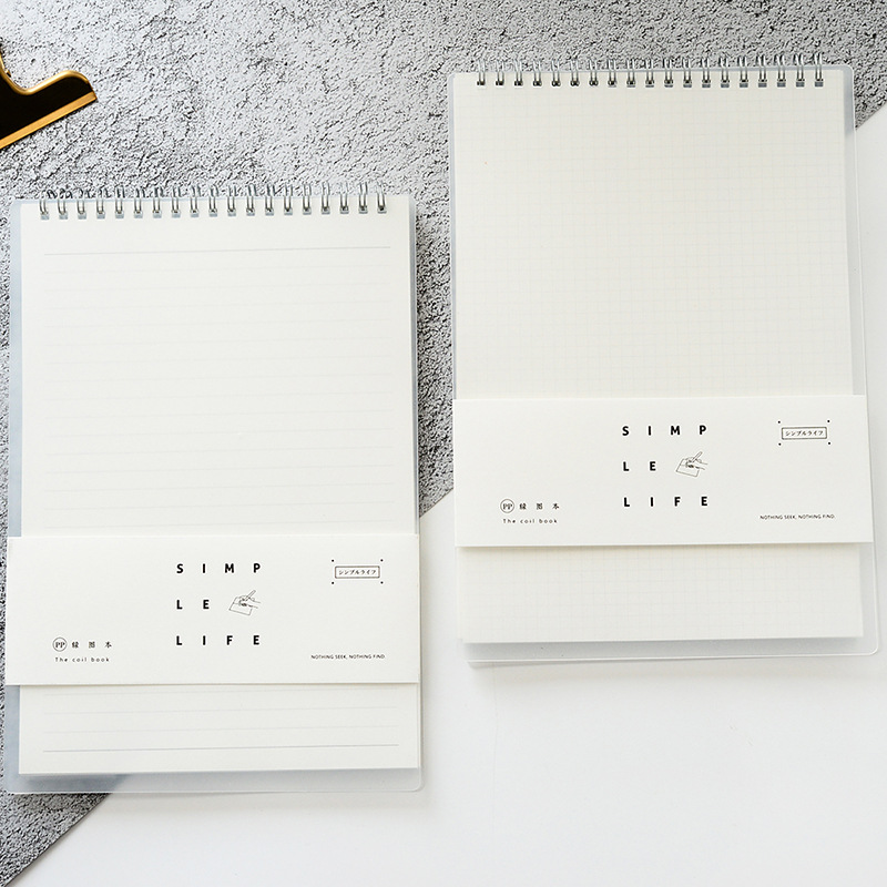 Coil Notebooks And Journals Memo Pad School Office Stationery PP Cover A5 B5 Concise Diary Horizontal Grid Book School Supplies