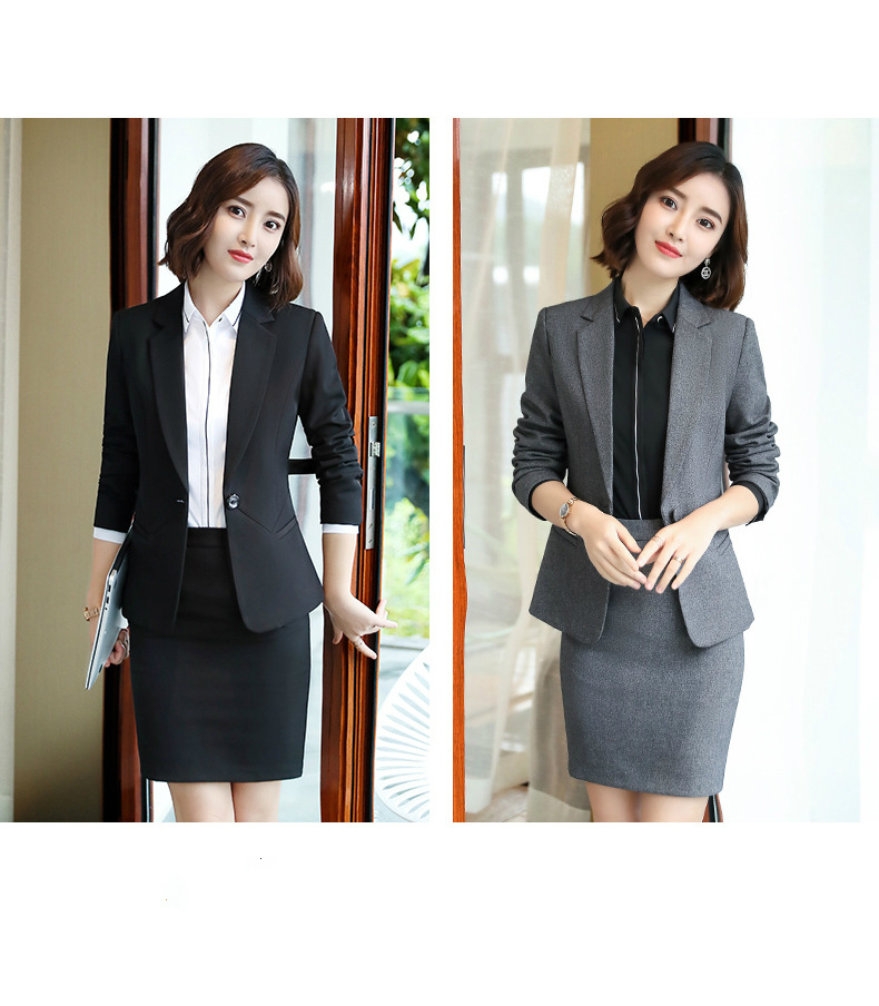 Gray Fashion Women's Blazers And Jacket Suits Ladies Office Skirt Suits Business Work Wear Office Uniforms Designs 2 Pieces Sets