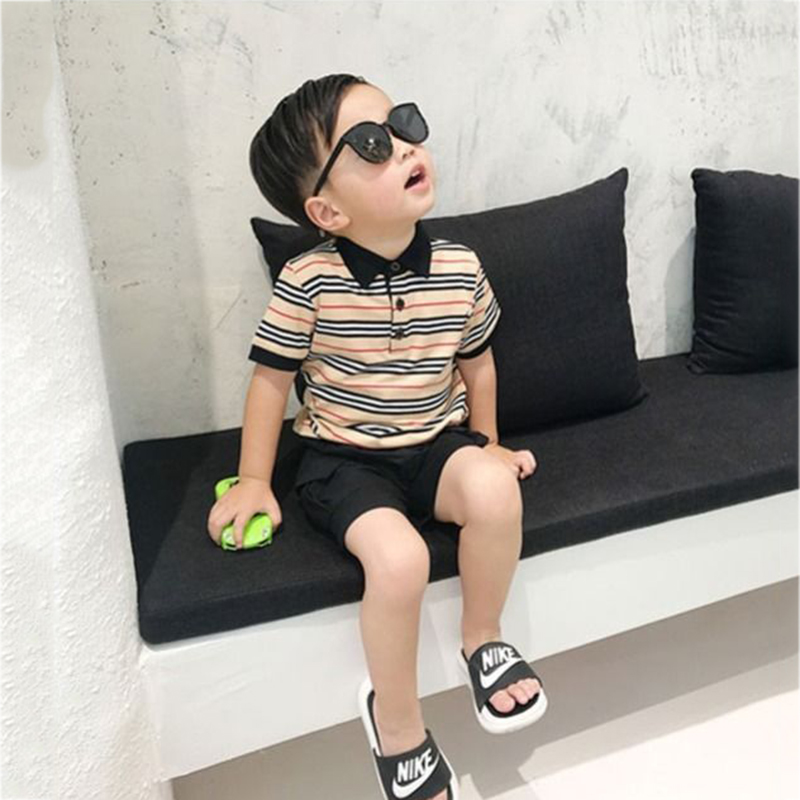 Boys' Tracksuit Summer Turndown Collar T-shirt Baby Short-sleeved Pants Suit Cotton Male Children's Clothing Kids Sports Suit