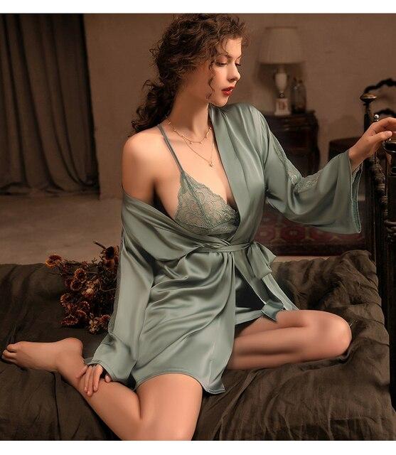 3 Pieces: Silk Robe W/ Lace Bath Gown & Belt W/ Thong Underwear