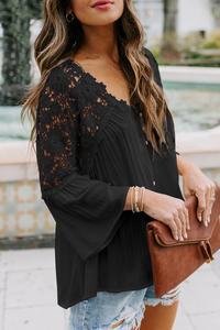 Preto/branco/cinza crochê botão de renda superior feminino verão sexy decote em v manga longa oco para fora laço retalhos blusa topos