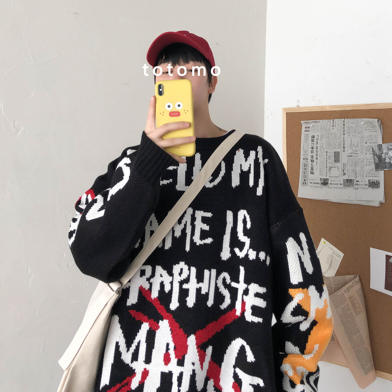 2019 Winter Men's Letter Printing Coats Doodle Design Loose Round Neck Woolen Knitting Long Sleeve Pullover Cashmere Sweater