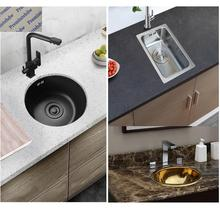 Kitchen-Sink Black Rv-Trailer Single-Bowl-Bar Gold 304-Stainless-Steel Round Caravan