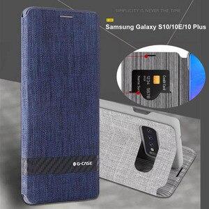 Image 1 - Чехол для Samsung Galaxy S10, роскошный тканевый чехол для Samsung S10 plus, чехол с откидной крышкой для Samsung Galaxy S10e, чехол