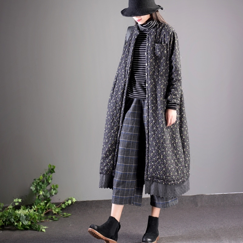 2019 Vintage Plus Size Winter Girl Lace Floral Cotton Padded Long   Parka   Jacket Women Outerwear Manteau Female Coat Winter V979