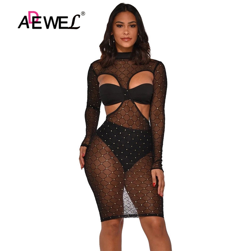 ADEWEL Fashion <font><b>Sexy</b></font> <font><b>Women</b></font> Leopard Printed Mesh Sheer Long Sleeve Hollow Out Party <font><b>Mini</b></font> Bodycon <font><b>Dresses</b></font> Clubwear <font><b>Women</b></font> <font><b>Sexy</b></font> <font><b>Dress</b></font> image