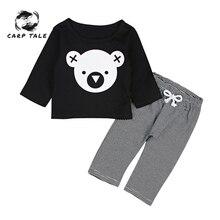 Newborn Baby Boy Clothes Set Cartoon Printing Koala T-Shirt Tops +Striped Pants Girl