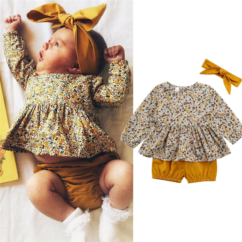 3PCS Newborn Baby Girls Tops T Shirt Long Floral Pants Headband Outfits Clothes