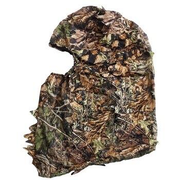 Kamuflaż polowanie liściaste 3D maska kaptur odkryty polowanie wędkarstwo nakrycia głowy kapelusz Camo