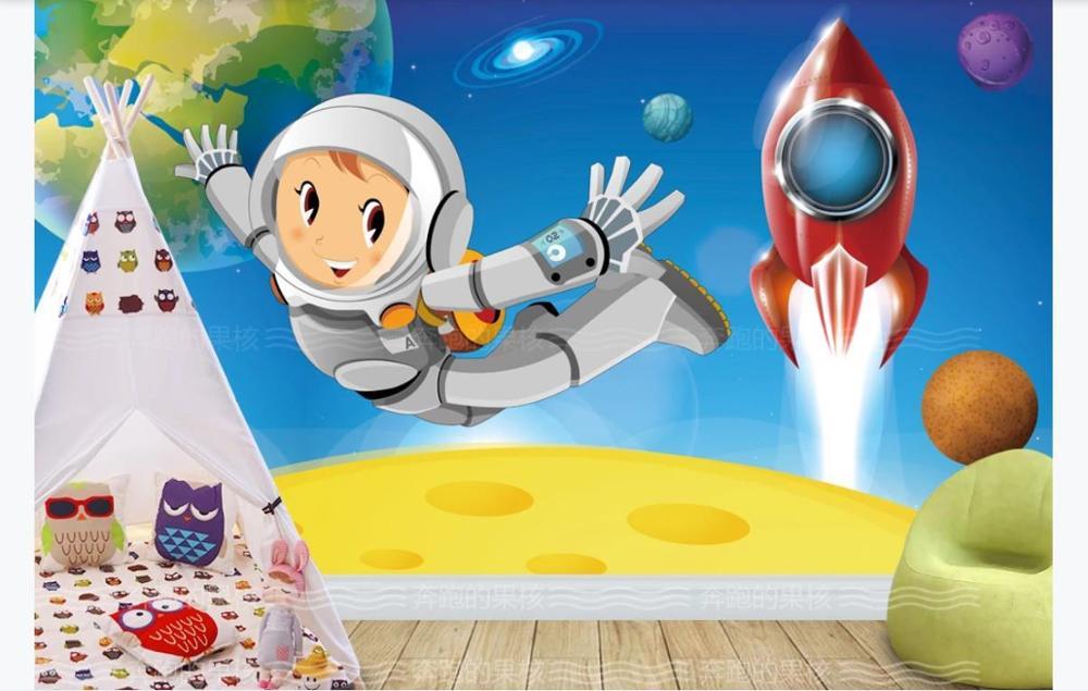 Custom 3D Photo Wallpaper Hd Cartoon Space Astronaut children room Outer Space Planet Galaxy Rocket Background
