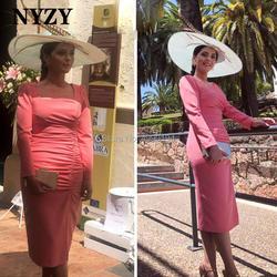 Шифоновые платья с квадратным вырезом и длинными рукавами кораллового цвета для матери невесты, жениха NYZY C215, торжественное платье для