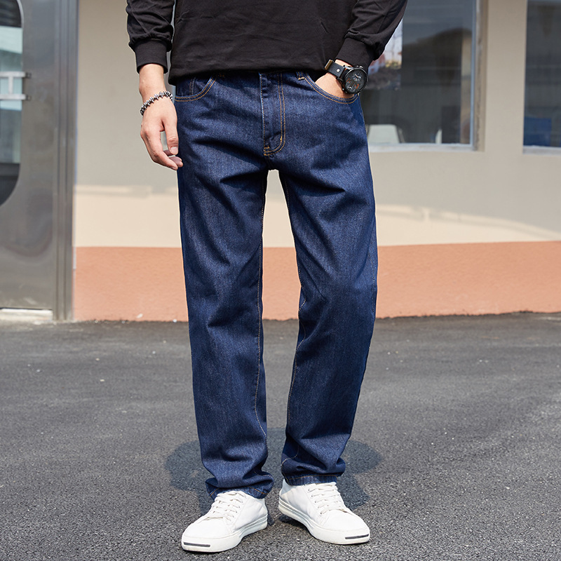 Four Seasons Large Size Men'S Wear Dad Loose Straight Jeans High Waist Plus-sized Popular Brand Fat Loose Pants Men's