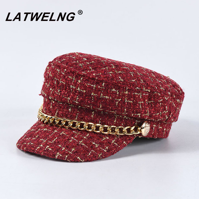 New Luxury Brand Tweed Design Chain Decoration Military Caps Women Black Newsboy Cap Ladies Elegant Octogonal Cap Autumn Winter