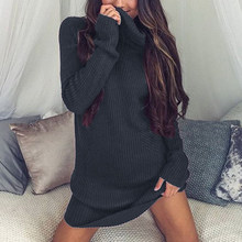2019 Women Knitted Sweater Dress Autumn Fashion Ladies Turtleneck Dresses Female Winter Long Sleeve Loose Knit Pullover Sweaters(China)
