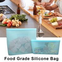 Reusable Silicone Food Storage Bags Seal Preservation Container For Vegetable Snack Meat Fruit