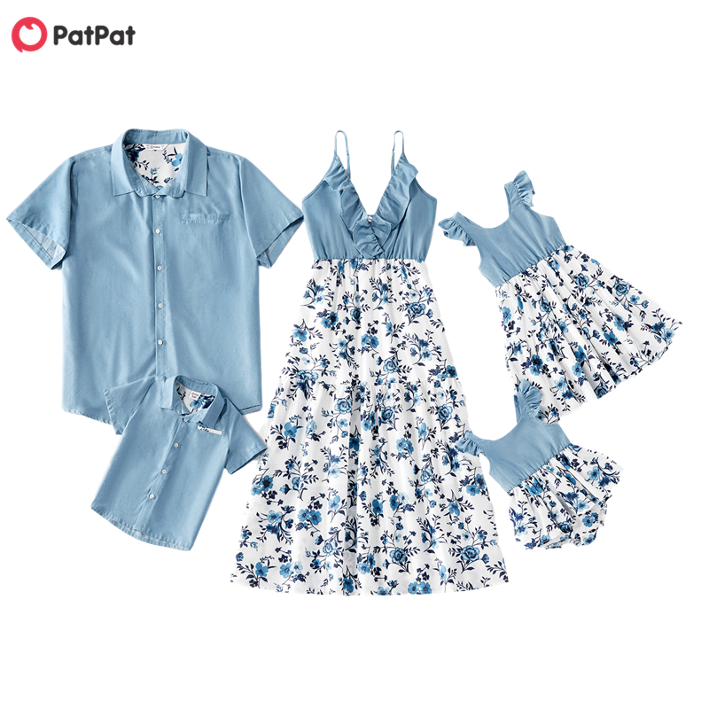 Patpat Tank-Dresses Onesies Family-Look-Sets Floral Cotton Denim Summer And Tops Mosaic