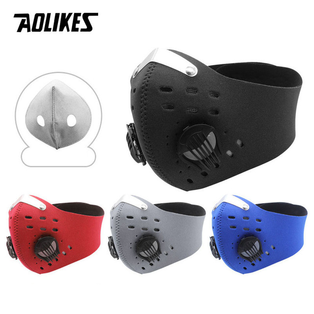AOLIKES Sport Face Mask With Activated Carbon Filter PM 2.5 Anti Pollution MTB Bike Training Mask Anti Smog Cycling Mask 2