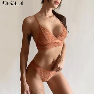Image 1 - Conjunto de sujetador y bragas negras para mujer, sujetador fino de algodón sin aros, conjunto de lencería con encaje bordado, ropa interior Sexy para mujer 2020