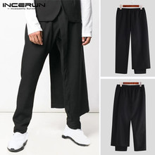 INCERUN Men Fashion Harem Irregular Pants Solid Color  Elastic Drawstring Long Trousers Streetwear Punk Stylish Slim Pant