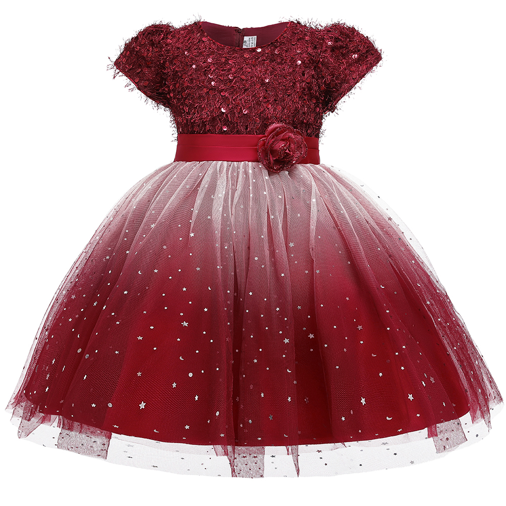 2019 Christmas Formal Elegant Dress For Girl Color Gradient Princess Dress Costume Kids Dresses Girls Children Lace Party Dress