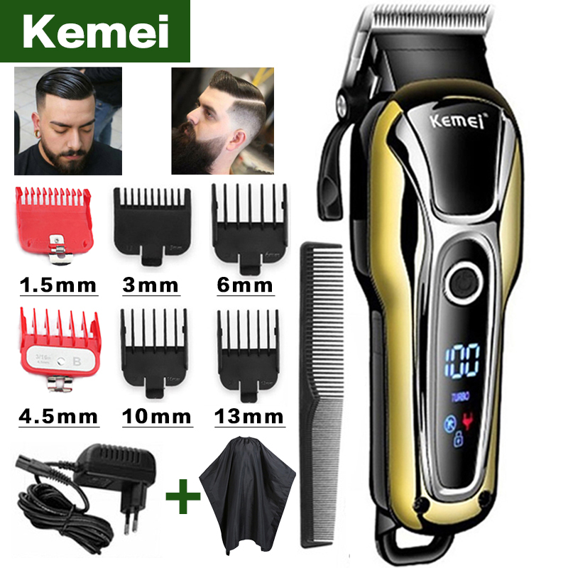 Kemei hair clipper professional hair Trimmer in Hair clipper for men electric trimmer LCD Display machine barber Hair cutter 5(China)