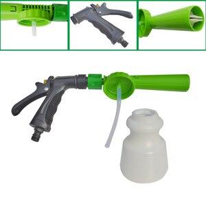 Image 5 - Pistola de espuma de lavado de coches de baja presión, Cañón de espuma para nieve, boquilla de espuma, manguera de agua, botella de 1L