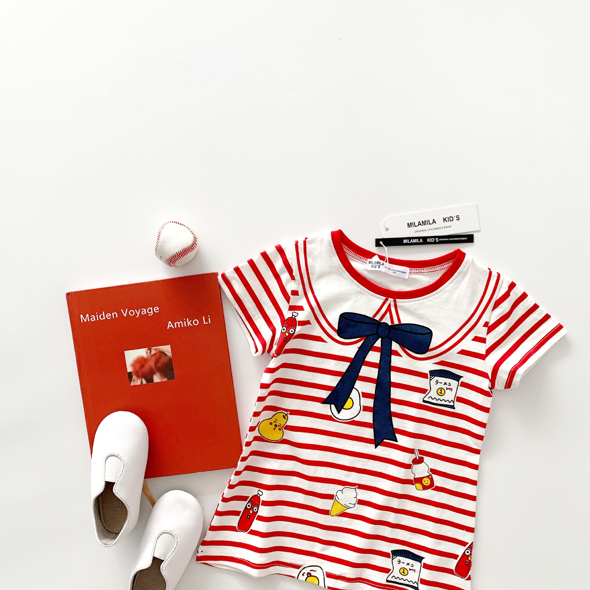 Tonytaobaby Summer New <font><b>Girls</b></font>' Children's Striped Snack Candy <font><b>Girl's</b></font> <font><b>T</b></font>-<font><b>shirt</b></font> <font><b>Dress</b></font> <font><b>Girls</b></font> <font><b>Dresses</b></font> image