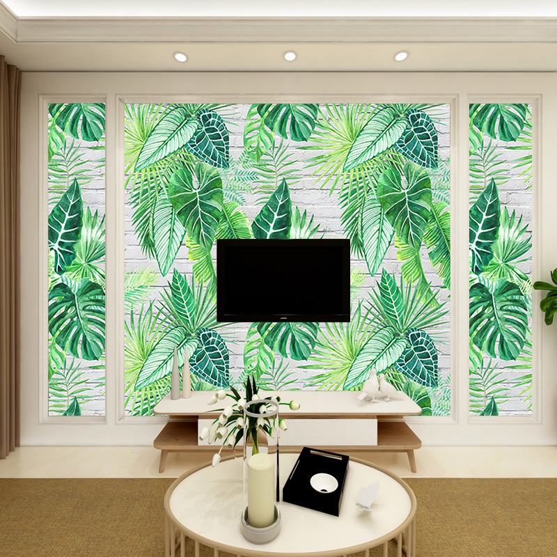 European Style Simple Hand-Painted Torrid Zone Rainforest Japanese Banana Leaf Green Leaf Television Living Room Bedroom Wall Pa