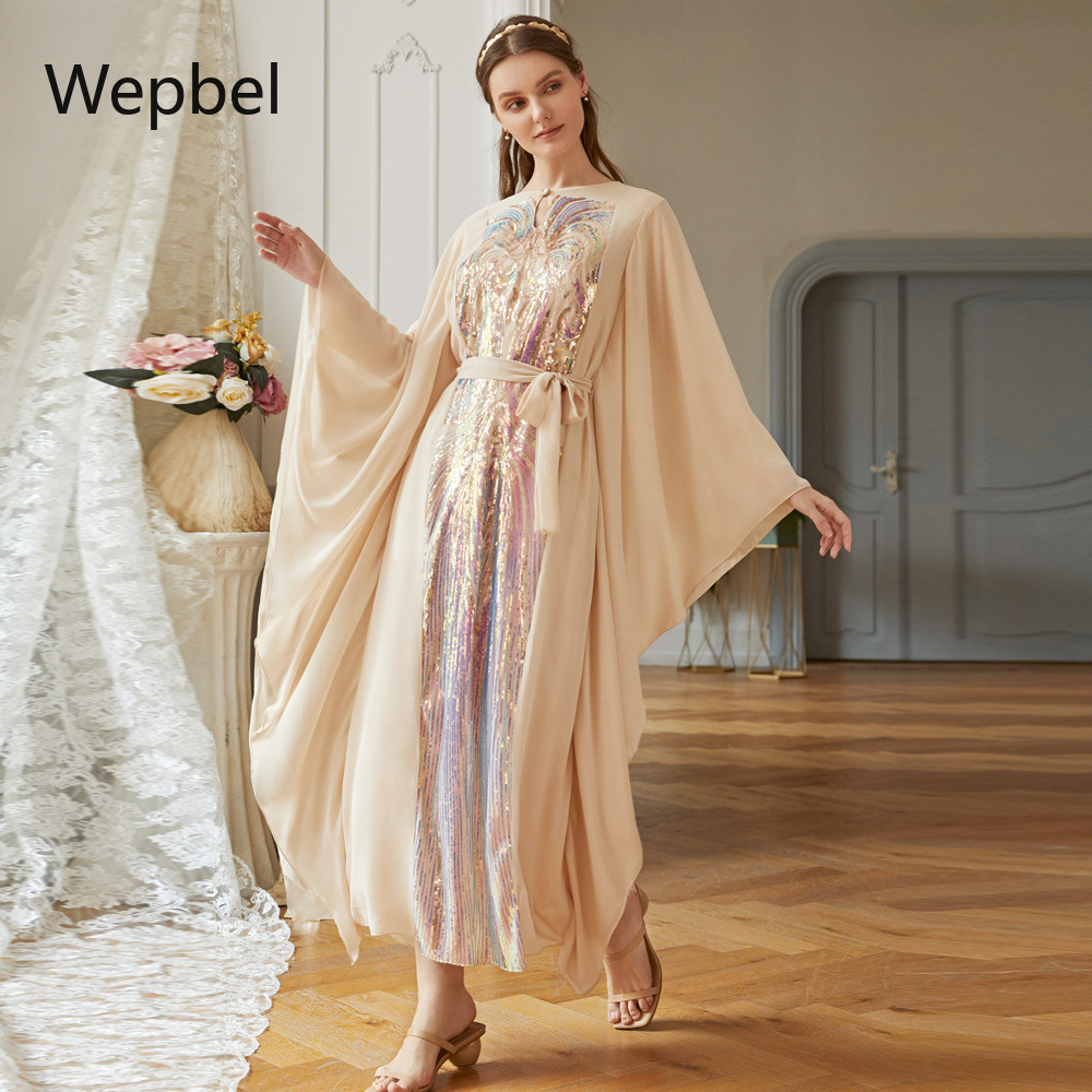 WEPBEL Long Colorful Butterfly Sleeve Islamic Dress Abaya Fashion Women Muslim Dress Middle East Arab Robe Gown Turkish Kaftan