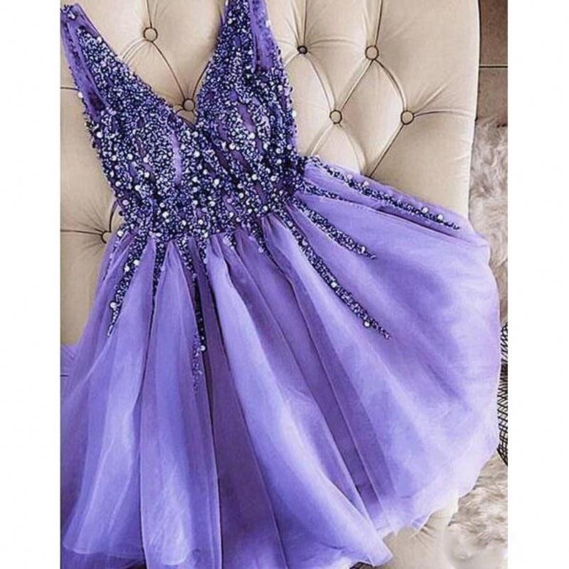 Superbes robes de bal en cristal perlé lilas Dubai arabe col en V robes de soirée Vestido de festa robe de soirée courte en Tulle sur mesure