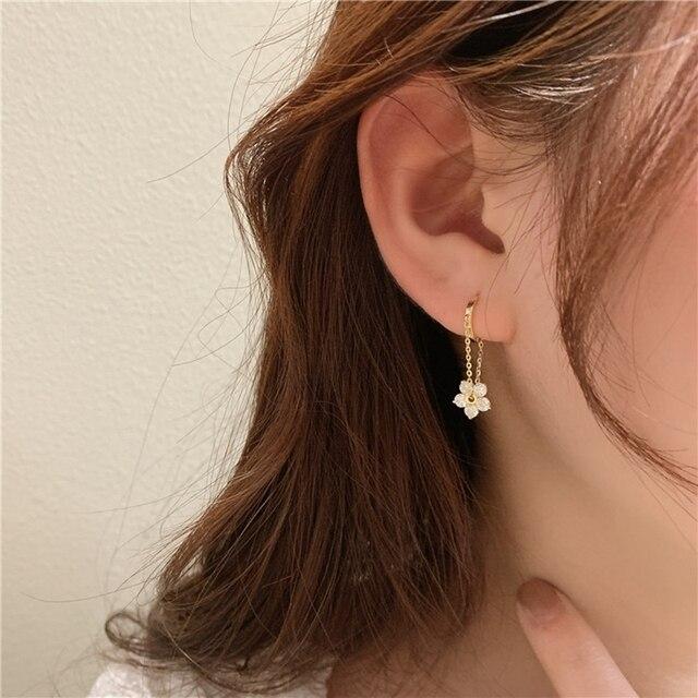 MENGJIQIAO Korean Elegant Zircon Flower Hoop Earrings For Women Girls Fashion Metal Chain Boucle D'oreille Oorbellen Jewelry 6