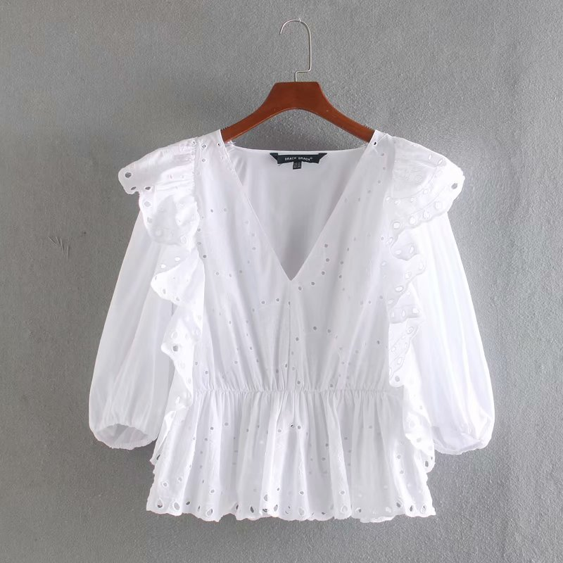 2020 Women V Neck Hollow Out Embroidery Casual Smock Blouse Lantern Sleeve White Shirts Female Stylish Solid Ruffles Tops LS6428