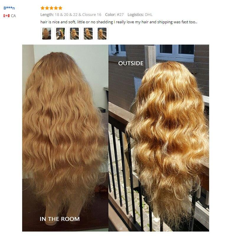 Image 2 - I Envy Blonde 바디 웨이브 번들 브라질 헤어 위브 번들 #27 Colored 1 3 4 Bundles Deals Non Remy Honey Blonde Human Hair헤어 위브즈   -